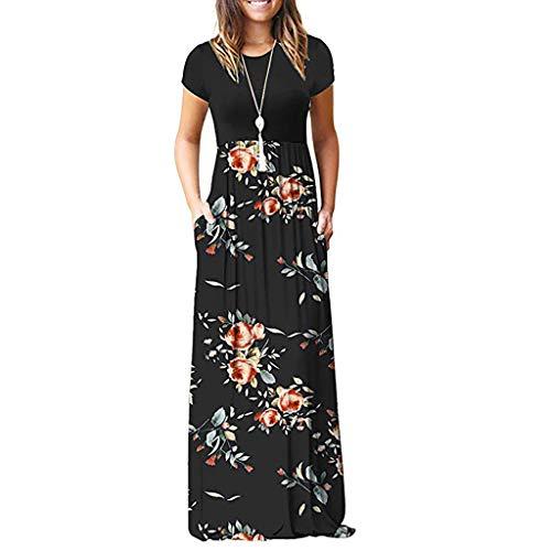 - Women Dress, Women Casual Dresses Womens Fashion Casual Floral Printed Maxi Dress Short Sleeve Party Long Dress