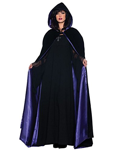 UHC Women's Deluxe 63In Blk/Purple Cape Vampire Theme Adult Halloween Costume, OS -