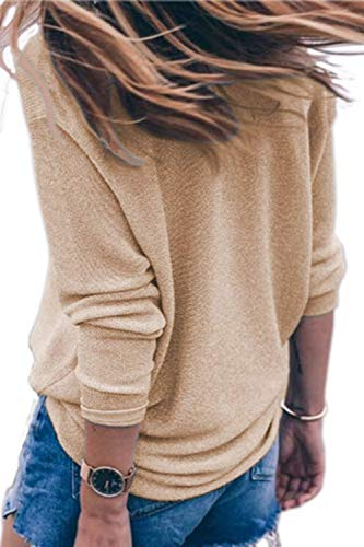 longue longues Automne à shirt large manche à femme Kaki Taille col en Couleur T Zhrui V avec manches Rose Xx xOIq7fqw