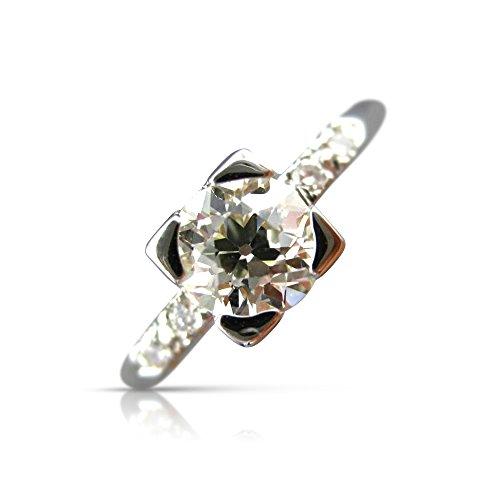 Milano Jewelers .83CT OLD MINE DIAMOND PLATINUM 5 STONE FISHTAIL ENGAGEMENT RING #25916 -