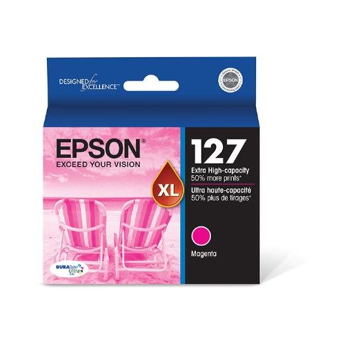 Epson T127320 OEM Ink - (127) Stylus NX530 NX625 Workforce 60 545 630 633 635 645 840 845 3520 3540 7010 7510 7520 DURABrite Ultra Extra High Capacity Magenta Ink (755 Yield) OEM