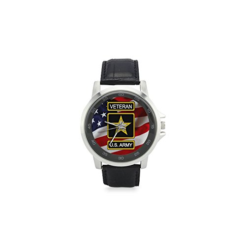 Special Design Military US Army Veteran and American Flag Custom Unisex Stainless Steel Leather Strap Watch Metal Case, Tempered Glass, Black Leather -