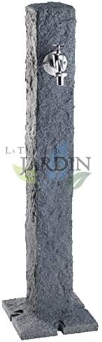 FUENTE JARDIN imitación piedra GRANITO oscuro con grifo. Altura 1 metro. Base 25 x 25 cm.