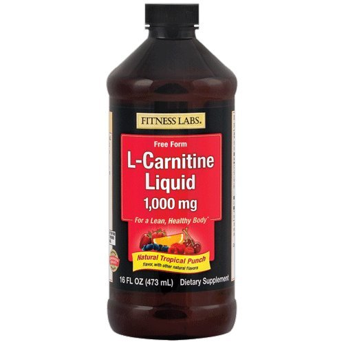 Fitness Labs L-Carnitine Liquid 1000mg Natural Tropical Punch, 16 Fluid Ounces