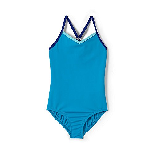 Lands' End Girls Smart Swim One Piece Swimsuit, 10, Tropical Turquoise (Swimsuit Bottom Girls)