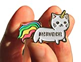 Caticorn Rainbow Enamel pin Lapel Meowgical Cat Unicorn Kittycorn 1.4 inch