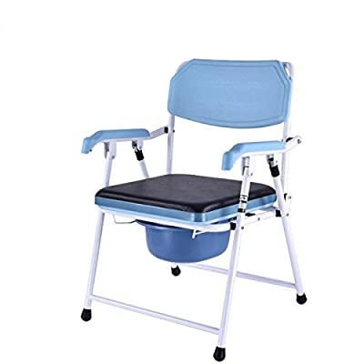 Healthcare Portable Folding Old Man Padded Toilet Seat Moving Toilet Pregnant Bath Chair Shower Chair (4 adjustable height)