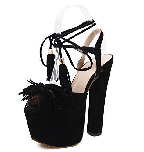 Aisun Damen Sexy Peep Toe Troddel Schleife Plateau Trichterabsatz Sandale mit Schnürung Schwarz