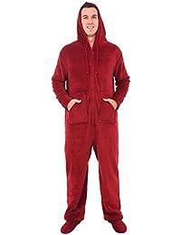 Del Rossa Men's Fleece Onesie, Hooded Footed Jumpsuit...