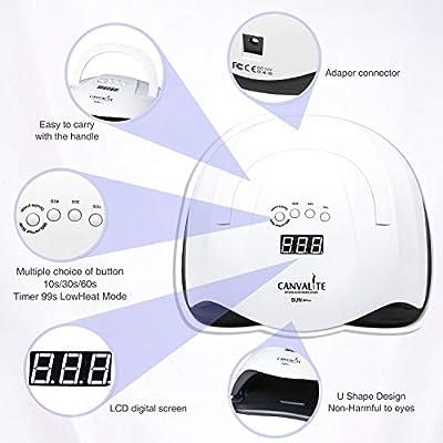 80W UV Nail Lamp, Canvalite Nail UV Lamp Professional LED Nail Lamp Auto-Sensing Nail Machine for Gel Polish with 4 Timer Setting 10/30/60/99S