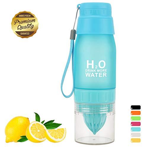 HANTAJANSS Outdoor Sport Bottle Portable Cycling Lemon Bottle BPA Free Water Bottle with Portable Cup