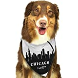 Creative Family pet Scarf Chicago Skyline American Town Famous Urban Design in Black I Love Chicago Architecture W27.5 xL12 Scarf for Small and Medium Dogs and Cats