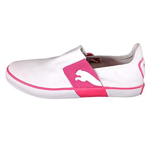 Puma Lazy J JR Slip-On Sneaker (Toddler/Little Kid/Big Kid),White/Shocking Pink,2 M US Little Kid