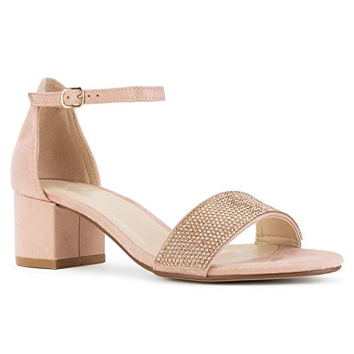RF ROOM OF FASHION Women's Ankle Strap Low Block Chunky Heel Dress Sandal Pumps Rose Gold (10)