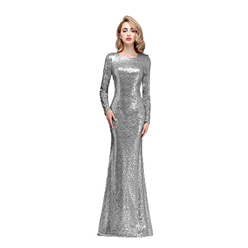 Honey Qiao Modest Bridesmaid Dresses Plus Size Long High Back Prom Party Gown Silver