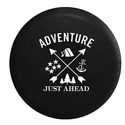 Adventure Just Ahead Camping Woods Anchor Stars Boating Hunting Outdoors Spare Tire Cover Vinyl Black 31 in - Hunting Star