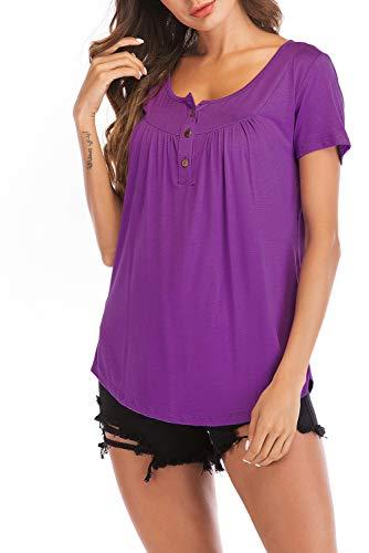 Fantastic ZoneShort Sleeve Blouses for Women V-Neck XXL Casual Summer Tunics Plus Size Purple XXL