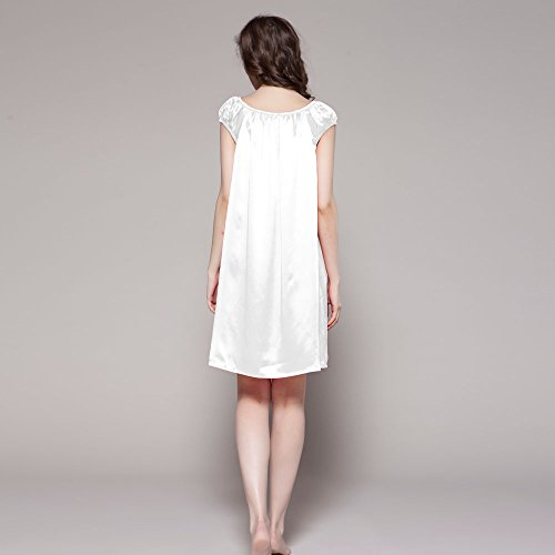 Nachtkleider Knie Nachtwäsche LilySilk Weiß Seiden Momme 22 Lang Damen Nachthemd xw001X4q
