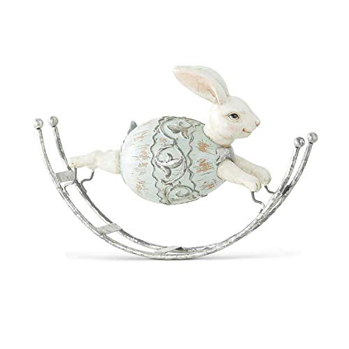 K&K Interiors Bunny Rabbit Wearing a Light Blue and Silver Egg on Rockers