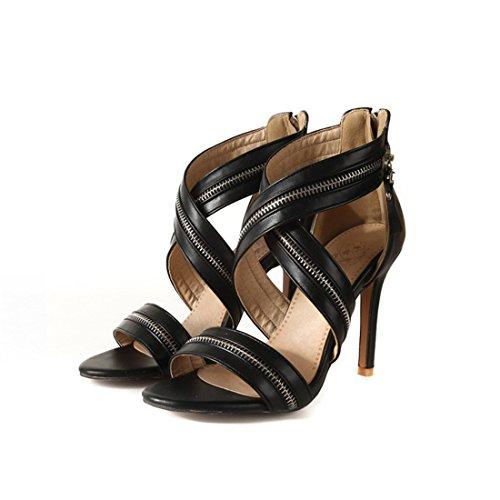 sandali black sandali tacchi 37 cave i spillo signore cerniere sandali a sexy sandali i 7nSw58