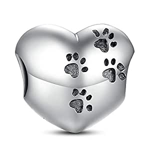 My Sweet Pet Pawprint Charm Heart 925 Sterling Silver Dog Paw Print Bead for European Brand Bracelet Compatible