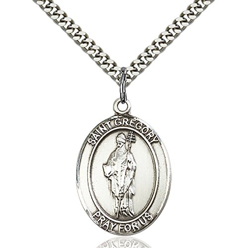 Heavy Sterling Pendant (Custom Engraved Sterling Silver St. Gregory the Great Pendant 1 x 3/4 inches with Heavy Curb Chain)