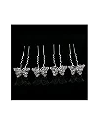 4PCS Bridal Wedding Crystal Hair Pins Bridal Prom Clips Butterfly shape