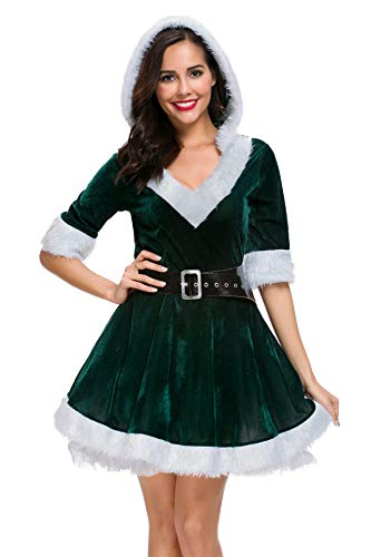 Cuteshower Christmas Women Costume Sexy Outfit Dress Santa Claus Cosplay Clothing Large Green