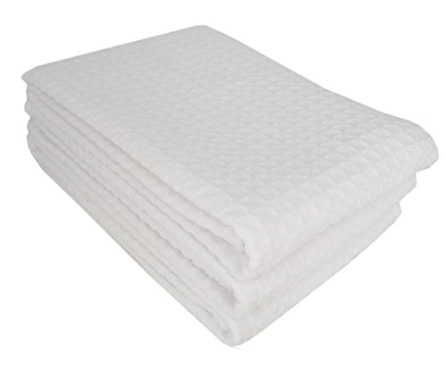 r Waffle Weave Kitchen Thick Towels Dish Cloth 3 Pack 16inch X 24inch (White) ()