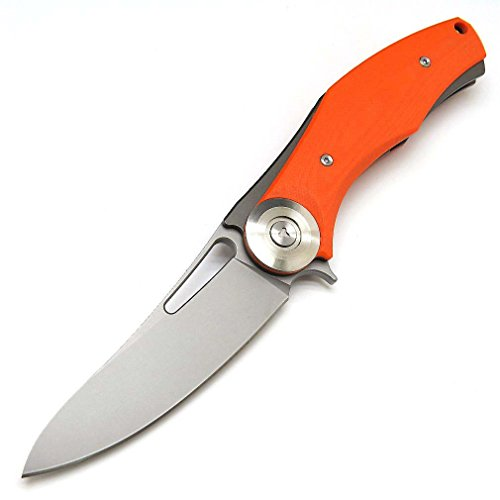 Eafengrow Dark Folding Knives D2 Blade Plating Titanium Steel Handle Flipper Camping Outdoor Tactical Knife EDC Tool (Orange)