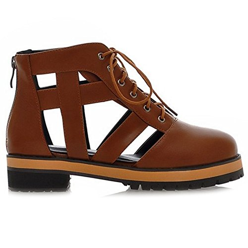 CuteFlats Sandal Boots with Flats and Lace up Martin Shoes with Large Size Available Brown E4OpnIm