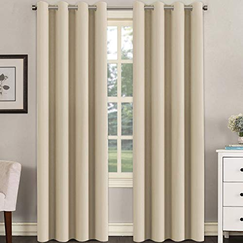 (H.VERSAILTEX Untra Sleep Well Microfiber Blackout Thermal Insulated Curtains for Bedroom/Living Room Decorative Grommet Window Panels Drapes (Set of 2, Beige, 52 x 96 Inch))