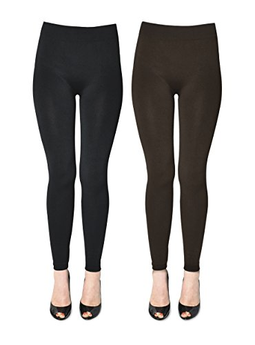 K. Bell Women's 2 Pack Soft and Warm Fleece Lined Leggings, Black/Brown, (Fleece Bell)