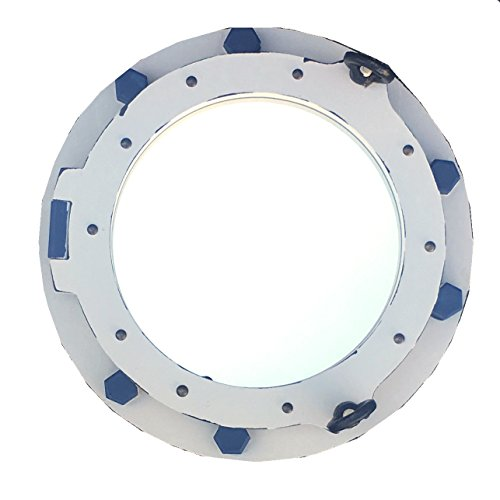 Porthole Accents - Porthole Wall Mirror - White with Blue Accents 14-in