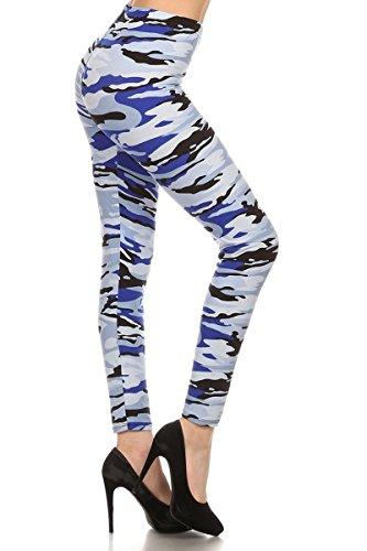 Print Leggings Blue Army Camouflage (N344-PLUS)