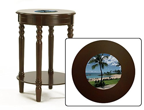 New Espresso / Cappuccino Finish Round Top Night Stand End Table featuring Hawaii Logo by The Furniture Cove