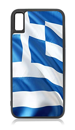 Flag Greece - Waving Greek Flag Print Design Black Rubber Case for iPhone XR - iPhone XR Phone Case - iPhone XR Accessories