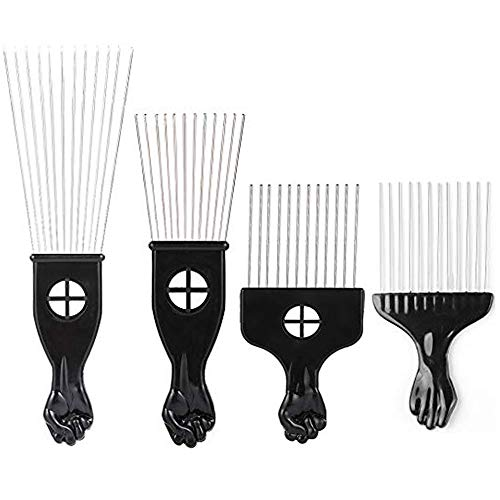 Borogo Afro Combs, 4-Pack Afro Pick w/ Black Fist - Metal African American Pick Comb Straight Hair Brush Hairdressing Styling Tool -