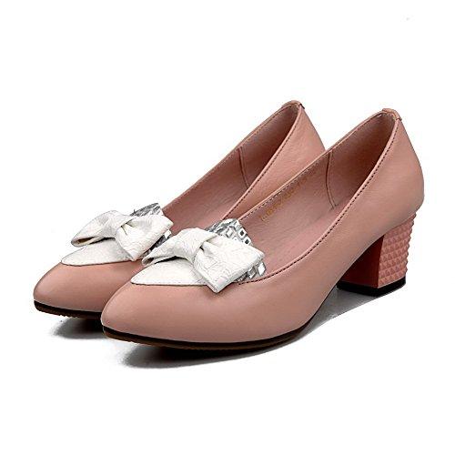 Rosa Zapatos Slip Puntera Punta En nbsp;Tacón AllhqFashion nbsp;de on suave medio Cuero Material de vaca Mujer Tacón Uq4wPxfa