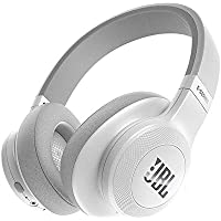 JBL E55BT Wireless Bluetooth Over-Ear Headphones with One-Button Remote and Mic (White)