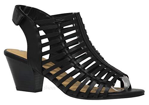 MVE Shoes Women's Open Toe Buckle Straps Block Heel - Low Stacked Wood Heeled Sandals - Vegan Leather Sandals-Open Toe Back Zipper Chunky Heel Pumps, Black nbpu Size 6.5