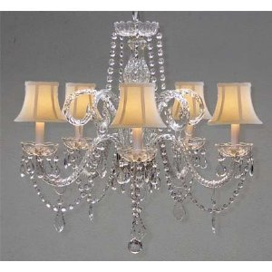 Crystal chandelier chandeliers lighting with white shades h 25 x w crystal chandelier chandeliers lighting with white shades h 25quot aloadofball Gallery