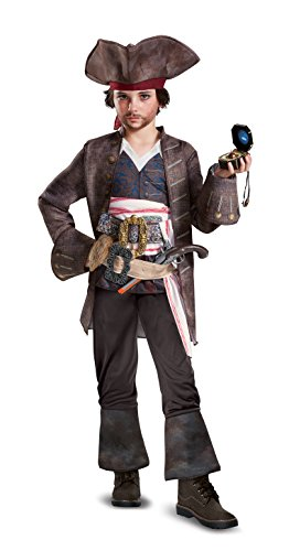 [Disney POTC5 Captain Jack Sparrow Deluxe Costume,  Multicolor,  Medium (7-8)] (Kid's Jack Sparrow Hat)