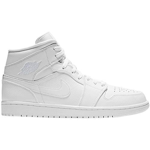 Jordan Mens Air Jordan 1 Mid Leather Synthetic White Trainers 12 US ()