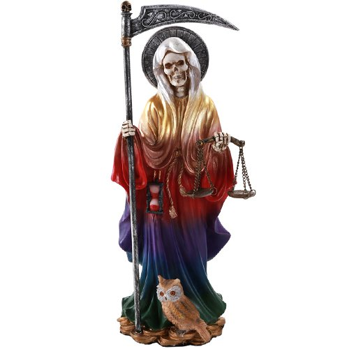 Pacific Giftware Santa Muerte Saint of Holy Death Standing Religious Statue 10 Inch Seven Powers Rainbow