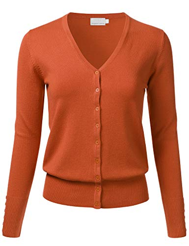 New Cardigan Womens Sweater - FLORIA Women's Button Down V-Neck Long Sleeve Soft Knit Cardigan Sweater Rust 1XL