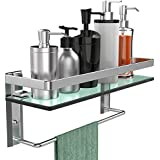 GeekDigg Bathroom Shelf, Tempered Glass Floating Shelves Wall Mounted Storage Shelves with Towel Bar (1 Tier)