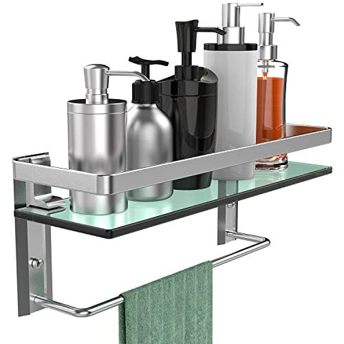 (GeekDigg Bathroom Shelf, Tempered Glass Floating Shelves Wall Mounted Storage Shelves with Towel Bar (1 Tier))