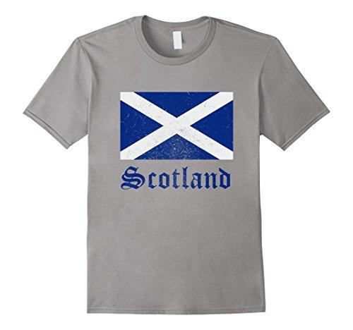 Mens Distressed Scottish Flag Scotland National Pride T-Shirt Large Slate
