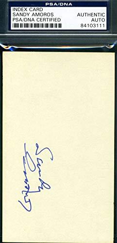 SANDY AMOROS PSA DNA COA Autograph 3x5 Signed Index Card